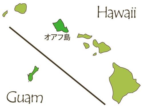ハワイとグアムの大きさ比較