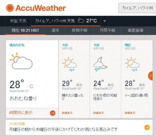 accuweatherカイルア