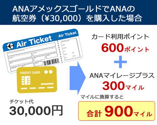 ANAアメックスゴールドでANA航空券を購入した場合