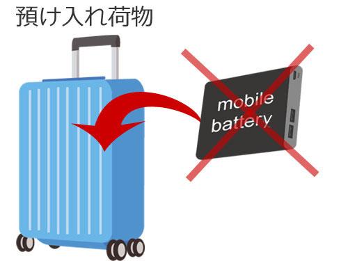 モバイルバッテリーの預け入れ荷物は禁止