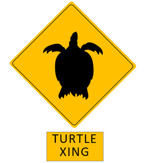 ハワイのウミガメ横断注意標識