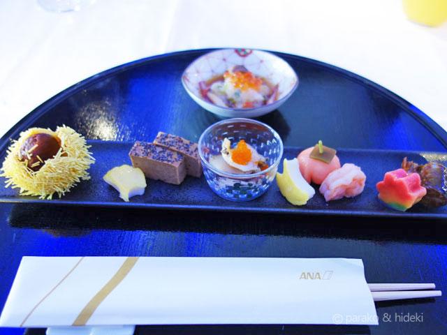 A380(フライングホヌ)ハワイ ファーストクラス 機内食