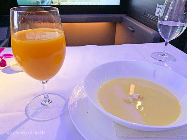 A380(フライングホヌ)ハワイ ファーストクラス 機内食洋食
